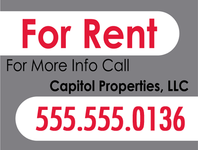 for rent lawn sign