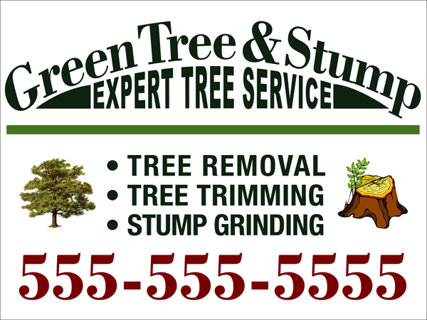 tree service corrugated sign